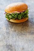 Tasty burger on the table — Stock Photo
