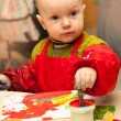 Stock Photo: Child learns to paint