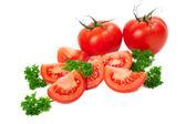 把西红柿切成片香菜叶 — 图库照片