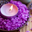 Candle in a saucer with salt baths and sprigs of lavender — Stock Photo #19122607