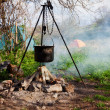 Saucepan hanging over the fire — Stock Photo