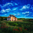 House in the field with green grass and flowers — Stock Photo #28837549