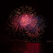 Firework over the water — Stock Photo