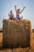 Children play sitting on a haystack — Stock Photo