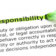 Responsibility highlighted in green — Stock Photo #13166528