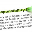 Responsibility highlighted in green - Foto Stock
