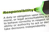Responsibility highlighted in green — Stock Photo