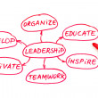 Leadership Flow Chart Red Marker — Stock Photo
