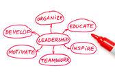 Diagrama de flujo rojo marcador de liderazgo — Foto de Stock