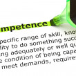Stock Photo: Competence highlighted in green