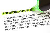 Competence highlighted in green — Foto de Stock