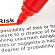 Risk underlined with red marker — Stock Photo