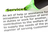 Service highlighted in green — Stock Photo