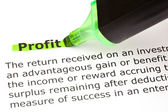 Profit highlighted in green — Stock Photo
