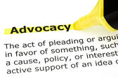 Advocacy highlighted in yellow — Stock Photo