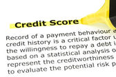 Credit Score highlighted in yellow — 图库照片