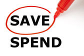 Save or Spend with Red Marker — Stock Photo