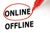 Online or Offline with Red Marker — Stock Photo