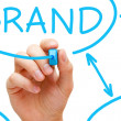 Brand Flow Chart Blue Marker - Stockfoto