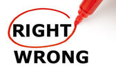 Right or Wrong with Red Marker — Stock Photo