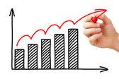 Gráfico de crescimento de negócios — Foto Stock