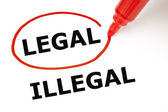 Legal or Illegal with Red Marker — Stock Photo