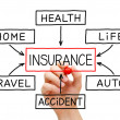 Insurance Flow Chart Hand — Stock fotografie