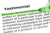 Testimonial Definition — Stock Photo
