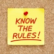 Know The Rules Sticky Note — Stock Photo #23374658
