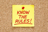 Know The Rules Sticky Note — Stock Photo
