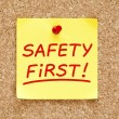 Safety First Sticky Note — Stock Photo