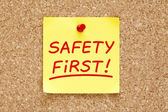 Safety First Sticky Note — Foto Stock