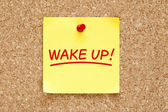 Wake Up Sticky Note — Stockfoto