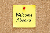 Welcome Aboard Sticky Note — Stock Photo