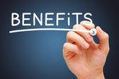 Benefits White Marker — Stock Photo