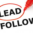 Stock Photo: Lead or Follow Red Marker