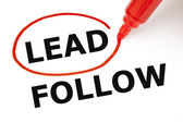 Lead or Follow Red Marker — Stock Photo