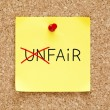 Stock Photo: Fair Not Unfair Sticky Note