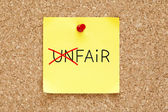 Fair Not Unfair Sticky Note — Stock Photo