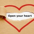 Open Your Heart Torn Paper — Stock Photo #45126931