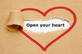 Open Your Heart Torn Paper — Stock Photo