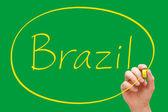 Brasilien handschrift gelbe markierung — Stockfoto