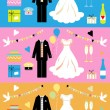 Wedding icons set, wedding card, — Stock Vector #1669212
