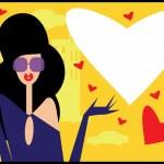 Pop Art Valentine Woman Background love card — Stock Vector