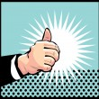 Thumb Up Retro business icon illustration pop art style - Stock Vector