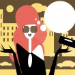 Moderm woman talking female fashion illustration Girl in the city — Stock Vector