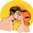 Vector comics of a kissing nude couple in a pop art comic style — Stock Vector