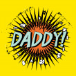 Father's day boom cartoon stamp with text daddy! inside,vector illustration — Stock Vector