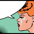 Vector illustration of a crying woman in a pop art comic style. — Stock Vector #17689777