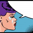 Vector illustration of a crying woman in a pop art comic style. — Stock Vector